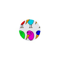 Colorful birds 1  Mini Magnets by Valentinaart