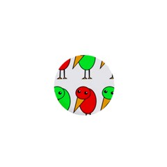 Green and red birds 1  Mini Magnets