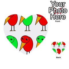 Green And Red Birds Multi Purpose Cards (heart)  by Valentinaart