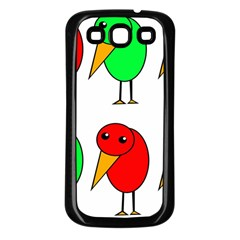 Green And Red Birds Samsung Galaxy S3 Back Case (black) by Valentinaart