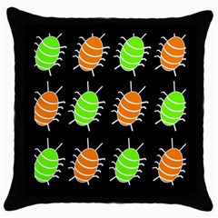 Green And Orange Bug Pattern Throw Pillow Case (black) by Valentinaart