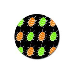 Green And Orange Bug Pattern Magnet 3  (round) by Valentinaart