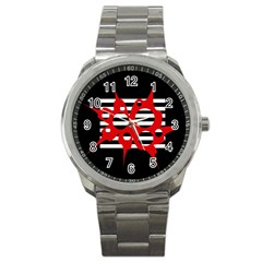 Red, Black And White Abstract Design Sport Metal Watch by Valentinaart