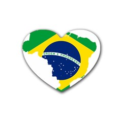 Flag Map Of Brazil  Heart Coaster (4 pack)  by abbeyz71