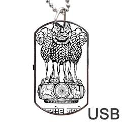Emblem Of India Dog Tag USB Flash (One Side) by abbeyz71