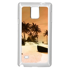 Wonderful Sunset Over The Beach, Tropcal Island Samsung Galaxy Note 4 Case (white) by FantasyWorld7