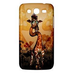 Funny, Cute Giraffe With Sunglasses And Flowers Samsung Galaxy Mega 5 8 I9152 Hardshell Case  by FantasyWorld7