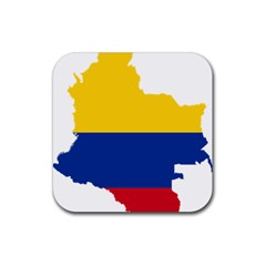 Flag Map Of Colombia Rubber Square Coaster (4 Pack)  by abbeyz71
