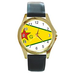 Flag Of The People s Protection Units Round Gold Metal Watch by abbeyz71