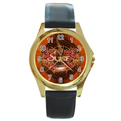 Surfing, Surfboard With Floral Elements  And Grunge In Red, Black Colors Round Gold Metal Watch by FantasyWorld7