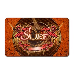 Surfing, Surfboard With Floral Elements  And Grunge In Red, Black Colors Magnet (rectangular) by FantasyWorld7