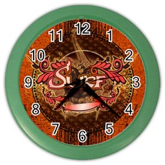 Surfing, Surfboard With Floral Elements  And Grunge In Red, Black Colors Color Wall Clocks by FantasyWorld7