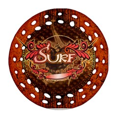 Surfing, Surfboard With Floral Elements  And Grunge In Red, Black Colors Round Filigree Ornament (2side) by FantasyWorld7