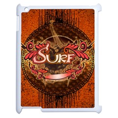 Surfing, Surfboard With Floral Elements  And Grunge In Red, Black Colors Apple Ipad 2 Case (white) by FantasyWorld7