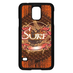Surfing, Surfboard With Floral Elements  And Grunge In Red, Black Colors Samsung Galaxy S5 Case (black) by FantasyWorld7