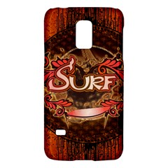 Surfing, Surfboard With Floral Elements  And Grunge In Red, Black Colors Galaxy S5 Mini by FantasyWorld7