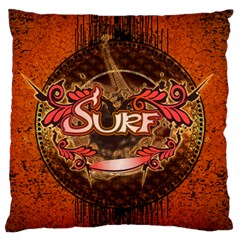 Surfing, Surfboard With Floral Elements  And Grunge In Red, Black Colors Standard Flano Cushion Case (one Side) by FantasyWorld7