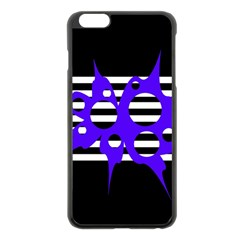 Blue Abstract Design Apple Iphone 6 Plus/6s Plus Black Enamel Case by Valentinaart