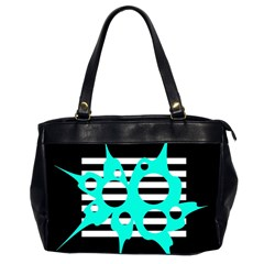 Cyan Abstract Design Office Handbags (2 Sides)  by Valentinaart