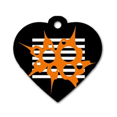 Orange Abstract Design Dog Tag Heart (two Sides) by Valentinaart