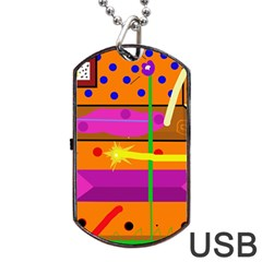 Orange Abstraction Dog Tag Usb Flash (two Sides)  by Valentinaart