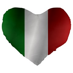 Flag Of Italy Large 19  Premium Flano Heart Shape Cushions by artpics