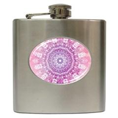 Pink Watercolour Mandala Hip Flask (6 Oz) by TanyaDraws