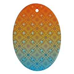 Ombre Fire And Water Pattern Ornament (oval)  by TanyaDraws