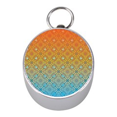 Ombre Fire And Water Pattern Mini Silver Compasses by TanyaDraws
