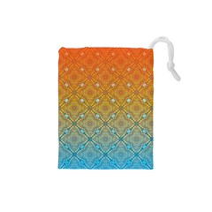 Ombre Fire And Water Pattern Drawstring Pouches (small)  by TanyaDraws
