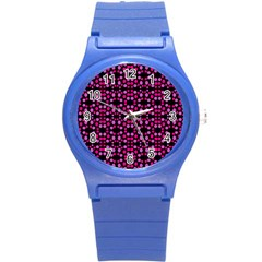 Dots Pattern Pink Round Plastic Sport Watch (s) by BrightVibesDesign