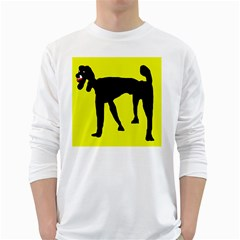 Black Dog White Long Sleeve T Shirts by Valentinaart