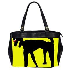 Black Dog Office Handbags (2 Sides)  by Valentinaart