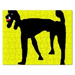Black dog Rectangular Jigsaw Puzzl by Valentinaart