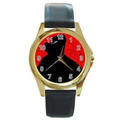 Red And Black Abstract Design Round Gold Metal Watch by Valentinaart