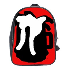 Red, Black And White School Bags (xl)  by Valentinaart