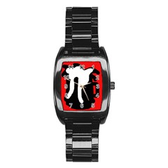 Red, black and white Stainless Steel Barrel Watch by Valentinaart