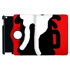 Red, Black And White Apple Ipad 3/4 Flip 360 Case by Valentinaart