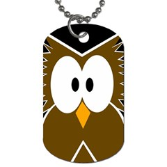 Brown Simple Owl Dog Tag (two Sides) by Valentinaart