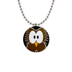 Brown Simple Owl Button Necklaces by Valentinaart