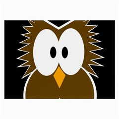 Brown Simple Owl Large Glasses Cloth (2 Side) by Valentinaart