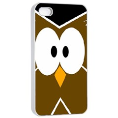 Brown Simple Owl Apple Iphone 4/4s Seamless Case (white) by Valentinaart
