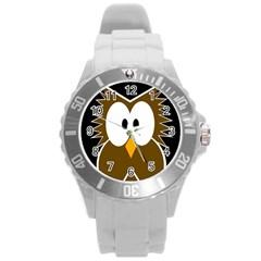 Brown Simple Owl Round Plastic Sport Watch (l) by Valentinaart