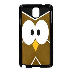 Brown Simple Owl Samsung Galaxy Note 3 Neo Hardshell Case (black) by Valentinaart