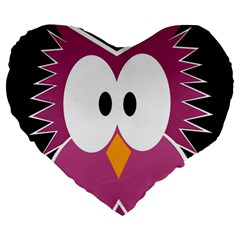 Pink Owl Large 19  Premium Heart Shape Cushions by Valentinaart