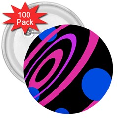Pink And Blue Twist 3  Buttons (100 Pack)  by Valentinaart