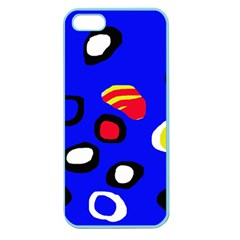 Blue Pattern Abstraction Apple Seamless Iphone 5 Case (color) by Valentinaart