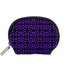 Dots Pattern Purple Accessory Pouches (small)  by BrightVibesDesign