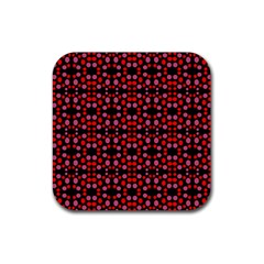 Dots Pattern Red Rubber Square Coaster (4 pack)  by BrightVibesDesign