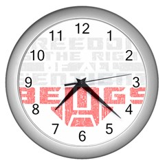 Freedom Is The Right Grunge Wall Clocks (silver)  by justinwhitdesigns